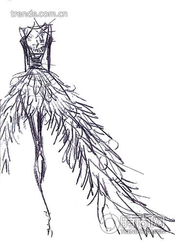 鱼尾婚纱设计图手稿