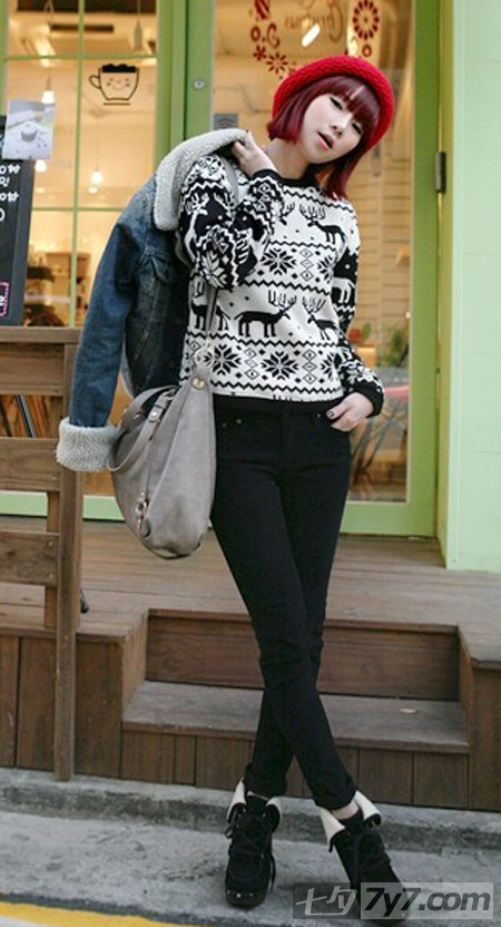冬季日系甜美淑女服装搭配 必当圣诞节晚会女主角