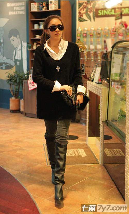 冬季长靴服装搭配图片