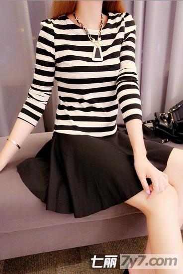 矮个子女生穿女生秋季衣服连衣裙搭配技夜猫子长袖图片