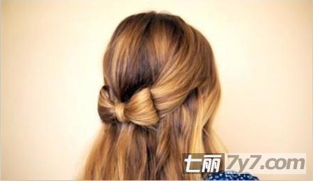 韩式瘦脸编发教程 可爱甜美蝴蝶结发型