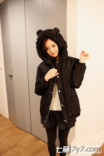 矮个子女生冬装搭配 韩版棉服显高遮肉美搭