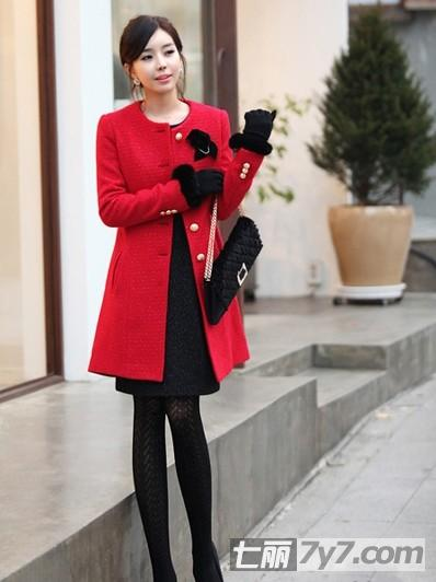 冬季百合红色显瘦a百合矮个子外套显高穿衣搭送男生女生女生图片
