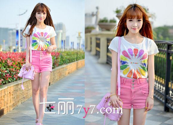 矮个子女生夏季t恤搭配 随意穿出小清新气质-时尚女装